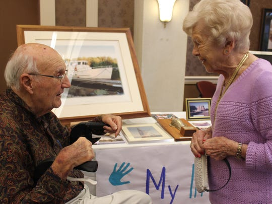 """Bud Pilling shared his stories during the """"Men of The Terraces"""" expo at his senior-living community in Bonita Springs."""