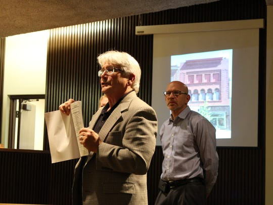 Dan Seckel, vice chair of the Historic Preservation Commission of Mansfield, speaks before Mansfield City Council members on Tuesday, June 20, 2017. Seckel discussed the renovation of a historic building on Park Avenue West that should increase the number of downtown living options.