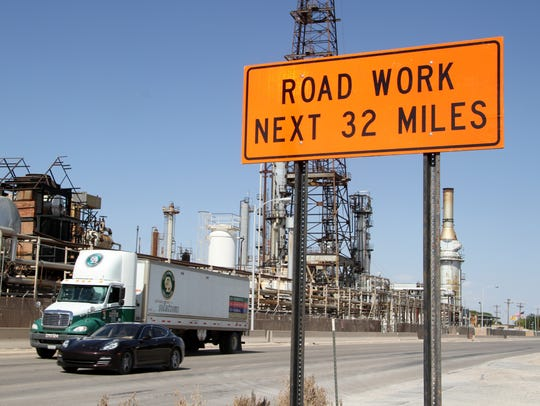 The 32-mile section of US 82 is packed with oilfield