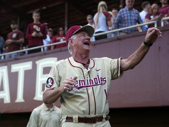 FSU Head Coach Mike Martin celebrates his 1900th win with his team after they defeated VCU 11-3 at Dick Howser Stadium on Sunday, Feb. 19, 2017.