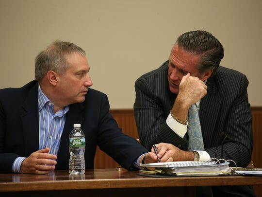 "Paul ""P.J."" Tucci and his lawyer Michael Schiano during opening statements in the Craig Rideout murder case."