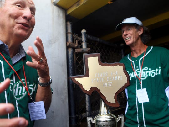 Members of the 1967 King baseball team wait to be introduced on Saturday, Saturday, June 24, 2017, at Whataburger Field in Corpus Christi.