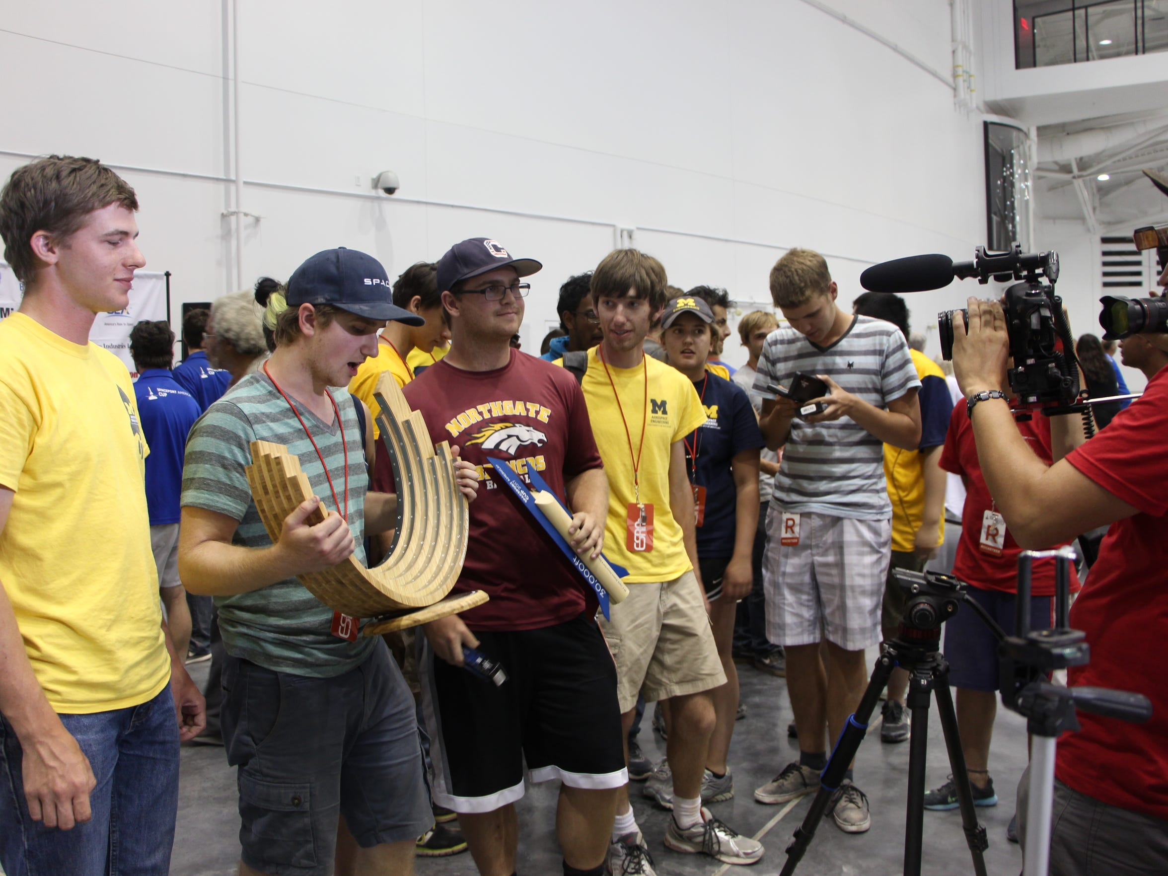 The team from the University of Michigan is presented the first Spaceport America Cup on Saturday