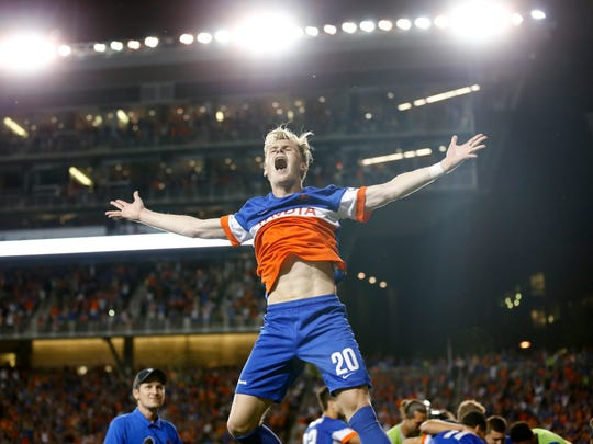 FC Cincinnati forward Jimmy McLaughlin (20) celebrates