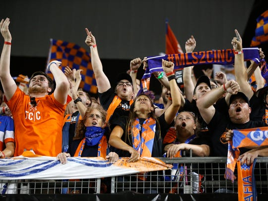 FC Cincinnati fans celebrate the win against Chicago