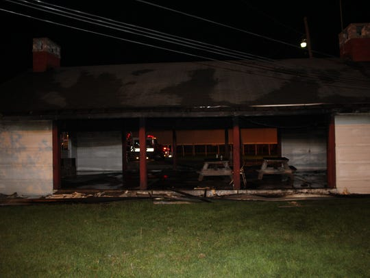 The aftermath of Thursday night's fire inside a shelter