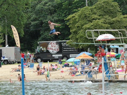 Divers at the third annual Food Truck Festival at Pequannock Valley Park this month.