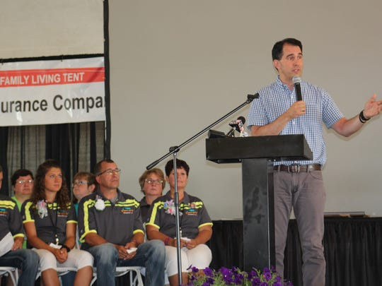 Gov. Scott Walker praises the innovation and forward thinking of the ag industry during the opening ceremony to kick off the opening of 2017 Farm Technology Days in Kewaunee County. The 3-0 vote of the PSC represents the biggest single effort by the Republican governor's administration to address manure pollution issues.