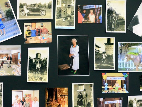 Photos of Ruby Hiatt from her lifetime are displayed at her 100th birthday celebration Friday, July 14, 2017, at the First United Methodist Church in Corpus Christi. Hiatt is a dedicated volunteer in the Senior Adult Ministry, Vacation Bible School, Blankets of Love, Mid-week Manna, and any other ministry that she's called upon.
