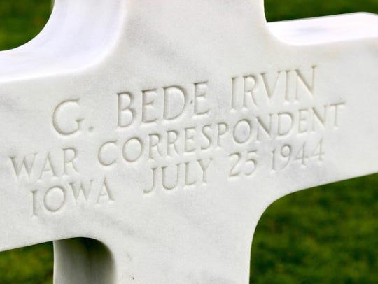 George Bede Irvin's grave site in France.