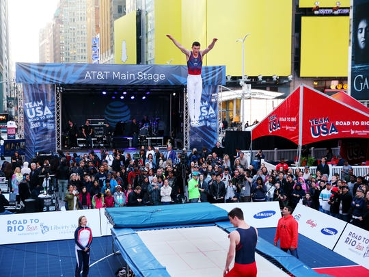 Steven Gluckstein demonstrates gymnastics during Team USA's Road to Rio Tour presented by Liberty Mutual on April 27, 2016 in New York City.