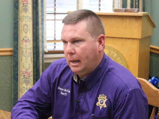 "Grant Parish Sheriff Steven McCain talks Thursday after a ""safe exchange zone"" his office opened next to headquarters for people seeking a secure spot for internet sales transaction and child custody swaps."