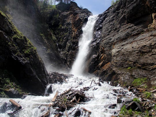 Falls Creek Falls near Hurricane Ridge, Wallowa Mountains.