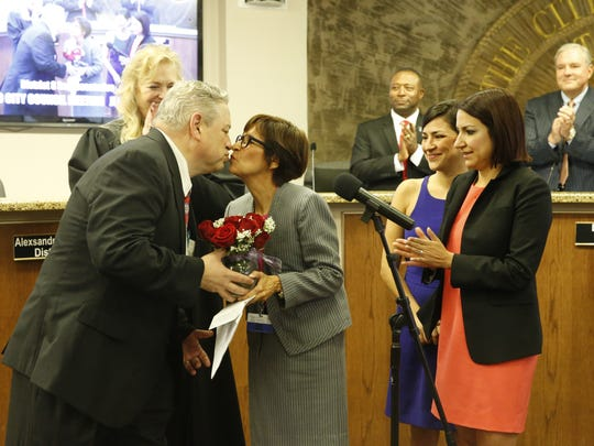 New city representative Cissy Lizarraga is congratulated