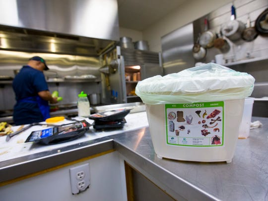 Compostable bags and kitchen container can be used to contain food scraps in the home.