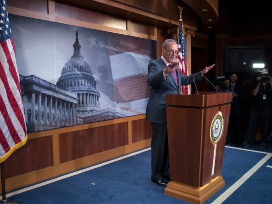 Senate Minority Leader Chuck Schumer holds a news conference on July 28, 2017.