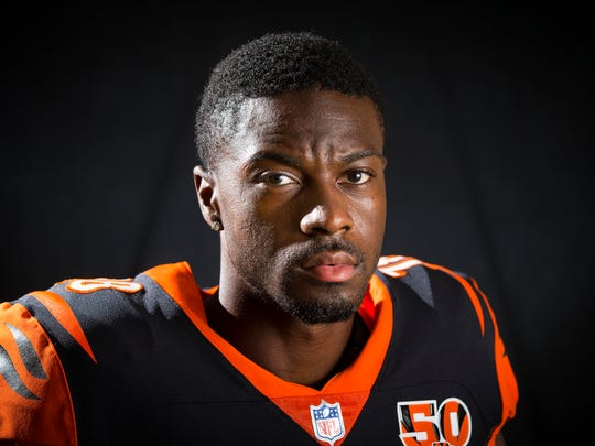 Cincinnati Bengals wide receiver A.J. Green (18) poses for a portrait at Paul Brown Stadium in downtown Cincinnati on Monday, July 31, 2017.