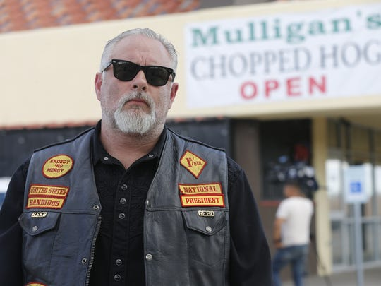 "Bandidos Motorcycle Club national President Clifton ""Dozer"" Roberts of Houston had a press conference in El Paso a few days after several members were shot."