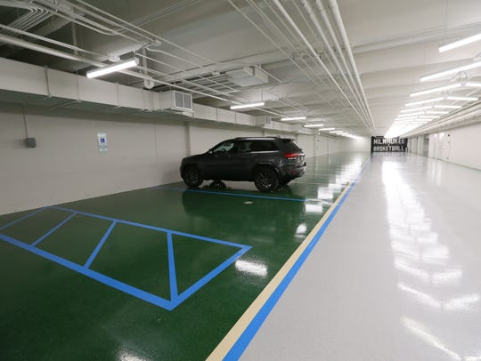 Underground parking for the players and staff at the