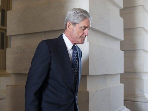 Mueller leaves after briefing members of the Senate