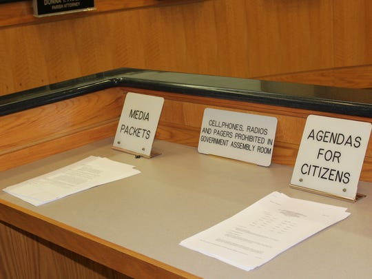 Agendas at a recent commission meeting.