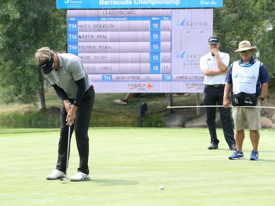 Stuart Appleby putts on Friday at Montreux.