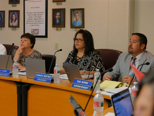 Members of the Salinas Union High School District School board listen to members of the public during their Tuesday night meeting.