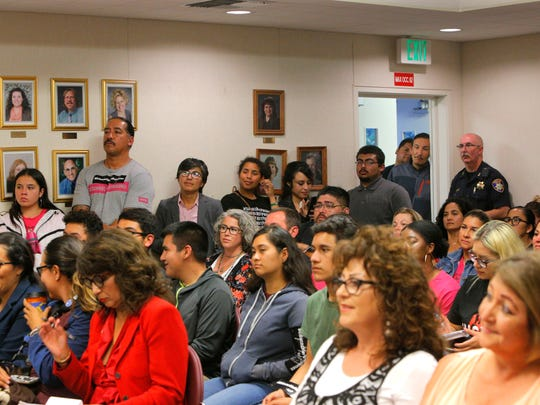 Community members packed the room at the Salinas Union High School District during its meeting on Tuesday night.