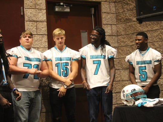 Members of the Upstate Dragons arena football team attended a news conference Wednesday at the Civic Center of Anderson. The team will play its home games at the Civic Center in 2018.