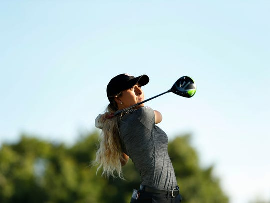 Pine School graduate Shannon Aubert plays her tee shot on the 18th hole during the first round of stroke play at the 2017 U.S. Women's Amateur at San Diego Country Club in Chula Vista, Calif. on Aug. 7, 2017.