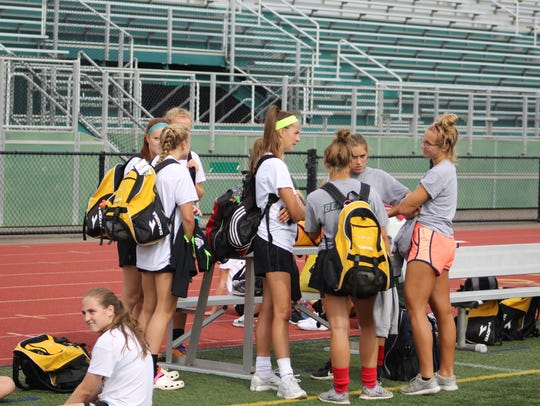 Players from Vestal's girls soccer team talk Monday