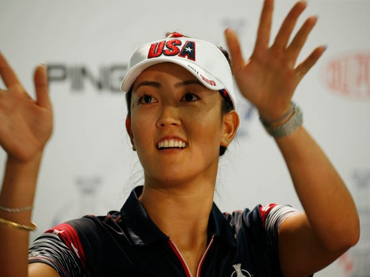 USA player Michelle Wie speaks in a press conference during the second practice round for The Solheim Cup international golf tournament  at Des Moines Golf and Country Club.