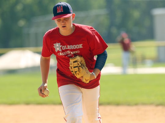 Holbrook's R.J. Vashey during Wednesday morning practice. Holbrook, the sixth Ocean County team to reach the Little League World Series, representing the Mid-Atlantic Region practices at the World Series Little League complex. August 16, 2016, South Williamsport, PA.