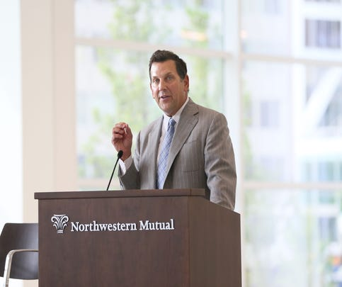 CEO John Schlifske speaks during the opening of the new 32-story Northwestern Mutual Tower and Commons in downtown Milwaukee.