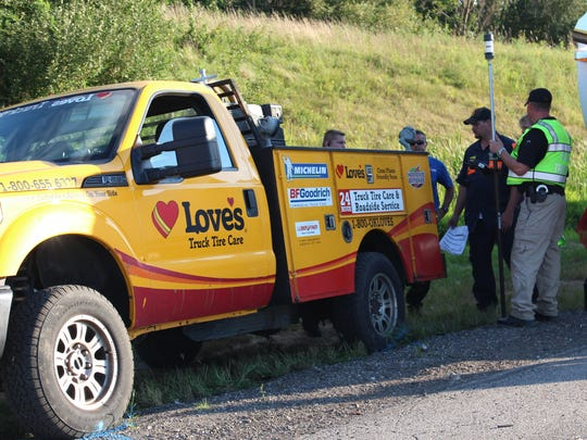 Several Love's employees arrived on the scene of a fatal crash on I-71 in Ashland County on Tuesday, Aug. 22, 2017. Truck driver Steven Garceau, 44 of Champlain, New York, and Dennis E. McKenzie Jr., 28 Polk were both pronounced dead at the scene.