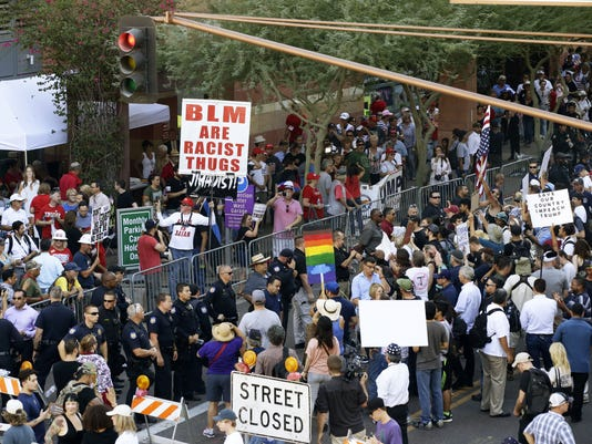 Trump visit 2017 Rally protest downtown Phoenix