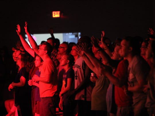 Worshipers at 5 Point Church in Easley, at the last