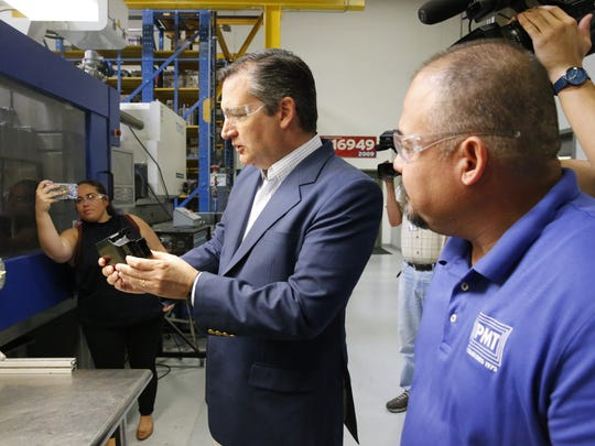 U.S. Sen. Ted Cruz visits Plastic Molding Technologies after a meeting in Far East El Paso Thursday morning.