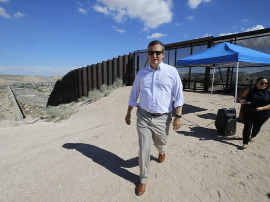 U.S. Sen. Ted Cruz tours the U.S.-Mexico border during his visit to El Paso on Thursday.