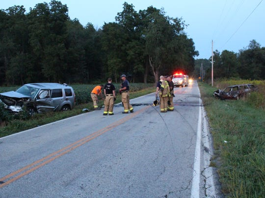 A car burst into flames after crashing into another vehicle on Pleasant Valley Road on Sunday, Aug. 27, 2017, according to the Ohio Highway Patrol. No one was seriously injured in the incident, the patrol reported.