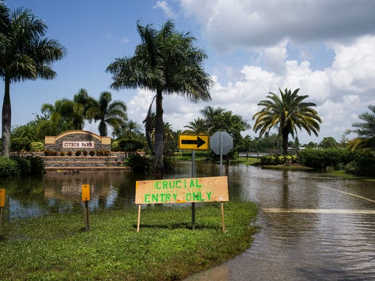 """A sign that reads """"Crucial Entry Only"""" marks the entrance for the Citrus Park community in Bonita Springs on Tuesday, August 29, 2017."""
