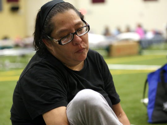 Pearl Medina talks about stay in the FEMA Dome after Hurricane Harvey displaced her family Wednesday, Aug. 30, 2017, at Tulsa-Midway High School in Corpus Christi, Texas. Harvey struck the Texas Coastal Bend as a Category 4 Friday, August 25, 2017.