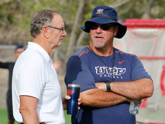 UTEP Athletic Director Bob Stull, left, with Sean Kugler, who resigned as the Miners' head football coach Sunday.