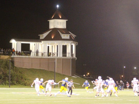 The Crofts Morava Pavilion towers over Schneider Stadium at Carroll University as Catholic Memorial squares off with Arrowhead on Sept. 1.