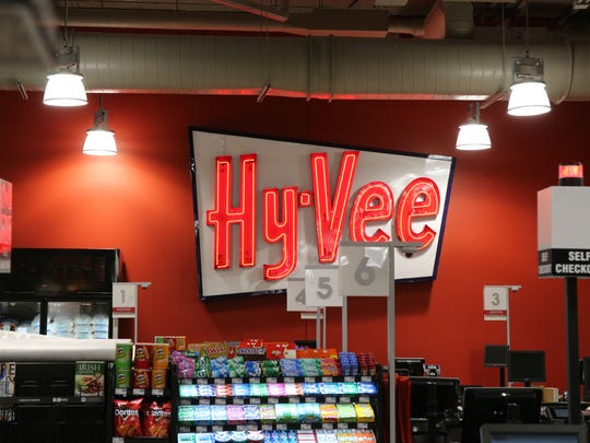 This vintage sign hangs in the downtown Des Moines downtown Hy-Vee store. The downtown Hy-Vee grocery store complex received tax increment financing for 15 years from the city as well as other incentives.