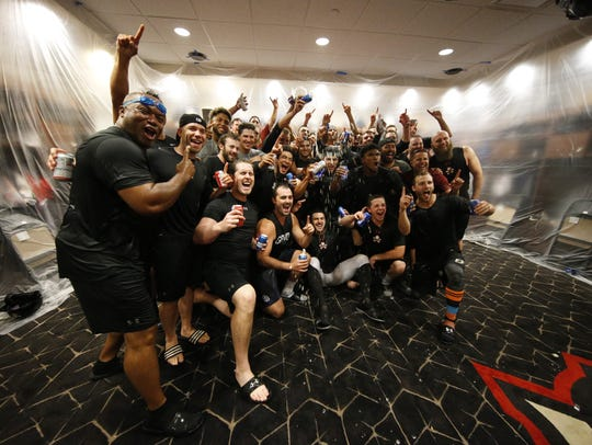 The El Paso Chihuahuas celebrate their sweep of the