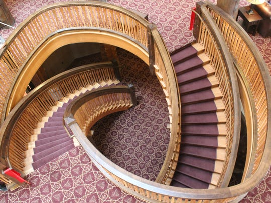 The original helical staircase was torn out of the Many Glacier Hotel in 1957 to make room for a gift shop. The completion of the new helical staircase marks the end of the major rehabilitation efforts in the lodge.