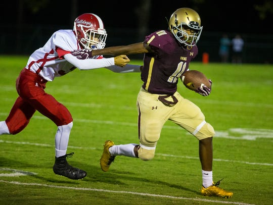 St. Elizabeth's Timothy Butler (right) pushes away from Laurel's Bricen Sanders on Sept. 15. All three of our experts are predicting the Vikings to get their second win of the season Saturday against Academy of The New Church.