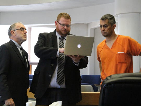 Keith Vollenweider's defense attorney (L), 12th Judicial