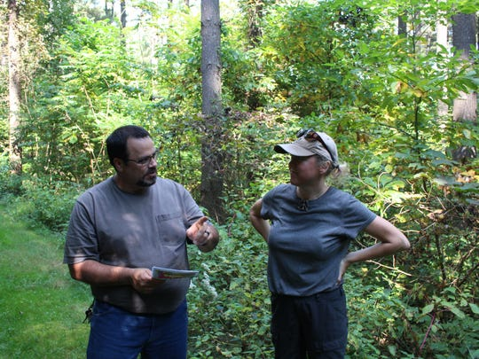 Mohican forestry manager Chad Sanders talks with Loudonville